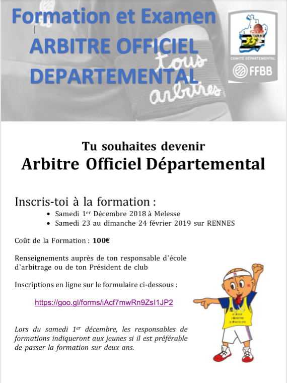 Formation Arbitre Officiel Départemental